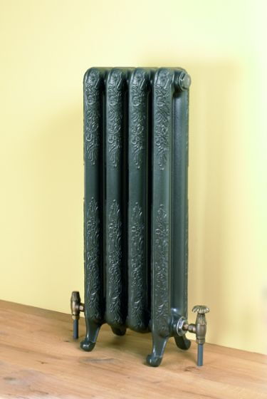 Burlington ornate cast iron radiator in Brown Green RAL 6008