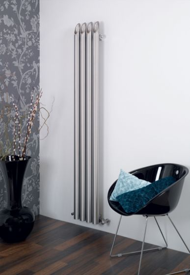 Bamboo, contemporary radiator in stainless steel - flat wall design