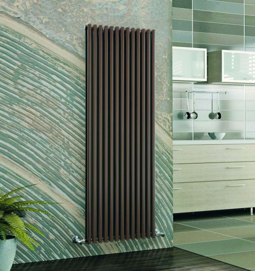 Cirque double vertical radiator in Chocolate Brown RAL 8017