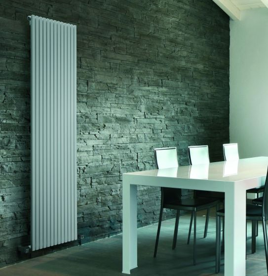 Cube-Tube single vertical designer radiator in white
