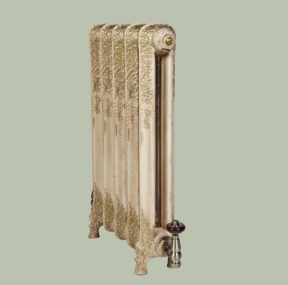 Downton 740mm high radiator in Antiqued cream with gold highlights