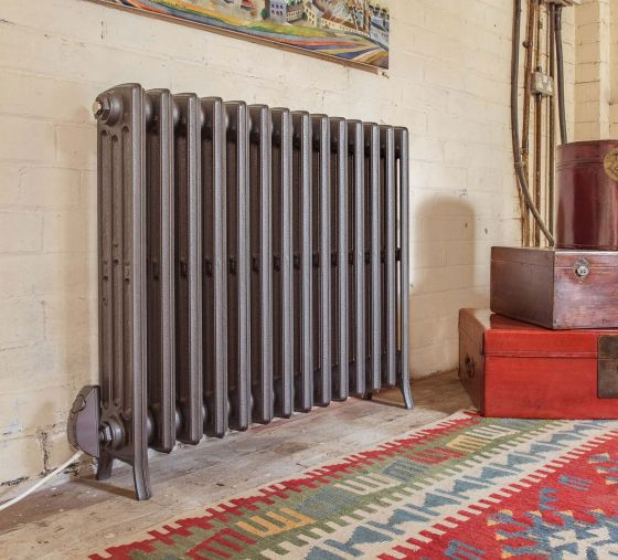 Electric-Etonian-4 column radiator in Old Florin Grey with anthracite element