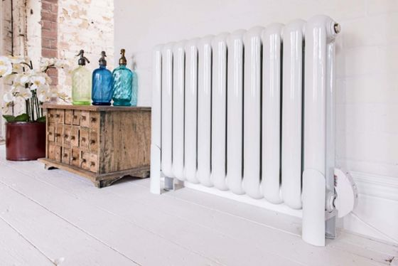 Electric Pod radiator in white on feet