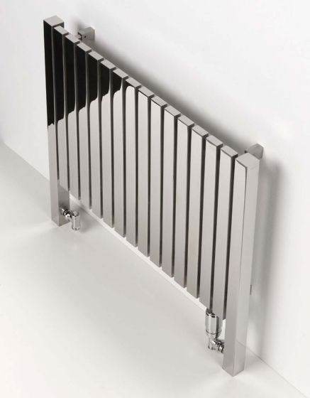 Harlem floor-standing radiator in polished stainless steel