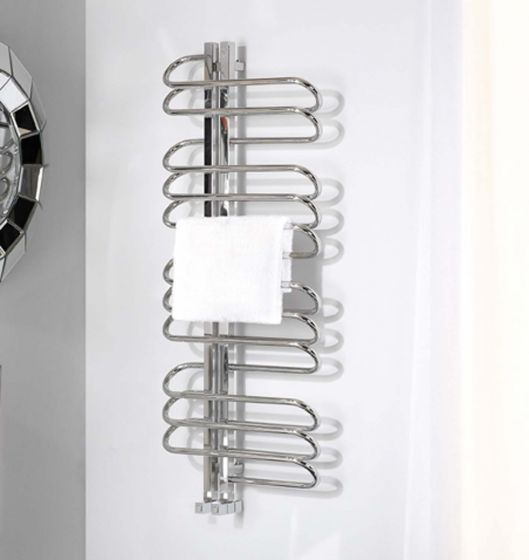 Orbit towel radiator in Polished stainless steel