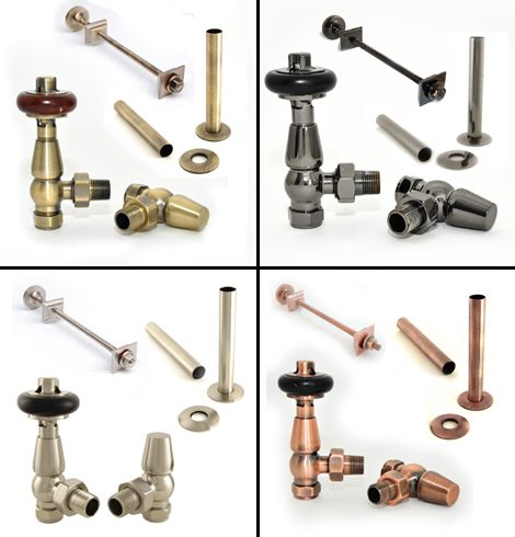 Kingsley bundle consists of Kingsley angled, thermostatic valves, a luxury wall stay and a set of matching sleeves and shrouds to cover copper pipe.