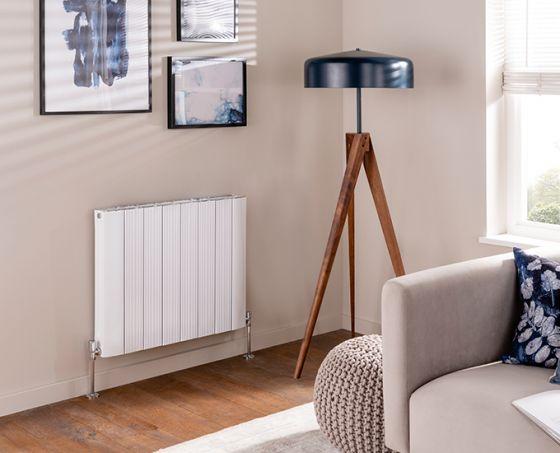 Stag aluminium radiator, single in white