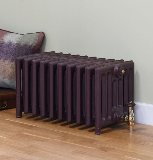 Victorian 7 column cast iron radiator painted in colour matched to Farrow & Ball Brinjal purple