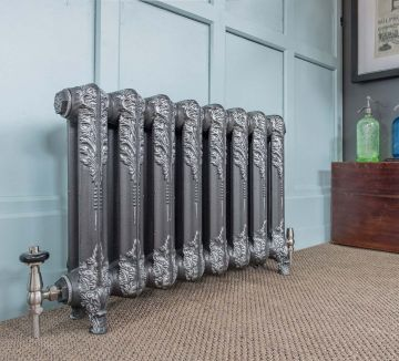 Downton 540mm high radiator in Old Pewter with silver highlights