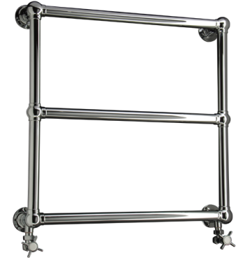 Asquith towel rail in chrome finish with Crosshead valves
