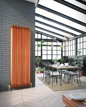 Colori vertical column radiator in copper lacquer