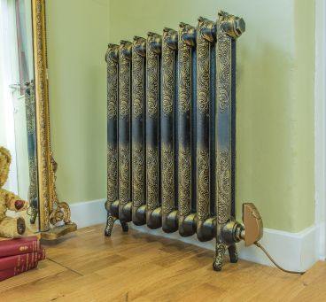 Rococo electric radiator burnished gold with satin gold element for web