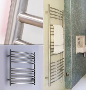 Alpine bow-fronted towel rails collage