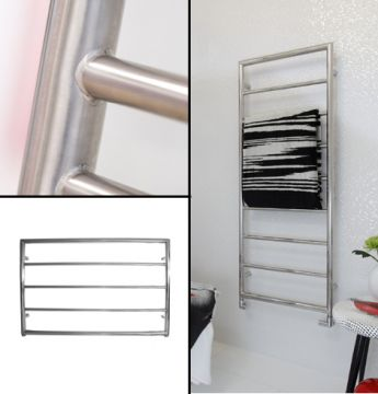 Alpine Mitre towel rail in stainless steel collage