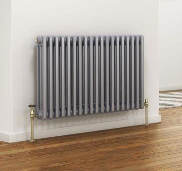 Colori column radiator in silver paint finish