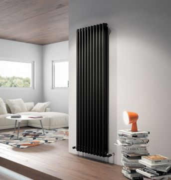 Vertical column radiator in matt black, without feet