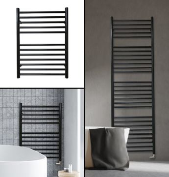 Negra stainless steel towel rails finished in black collage