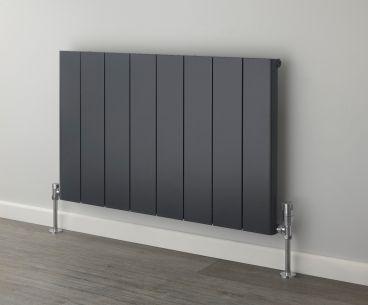 Ronde short aluminium radiator in a special dark grey finish.