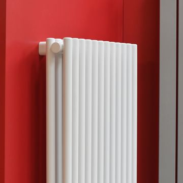 Tutti double vertical radiator in white