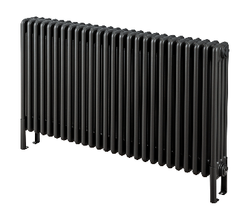 Core, floor-standing column radiator in matt black finish