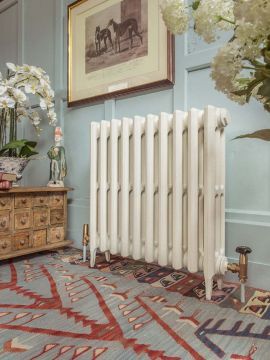 Victorian 3 cast iron radiator in match to Farrow & Ball Slipper Satin